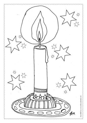 Adventskalender Ausmalbild: Kerze - Türchen 1
