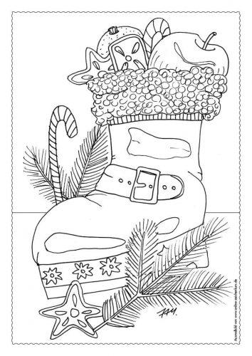 Adventskalender Ausmalbild: Nikolausstiefel - Türchen 6