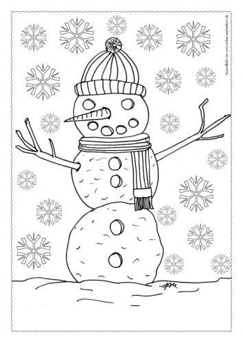 Adventskalender Ausmalbild: Schneemann - Türchen 2