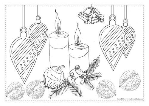 Adventskalender Ausmalbild: 2ter Advent mit 2 Kerzen - Türchen 8
