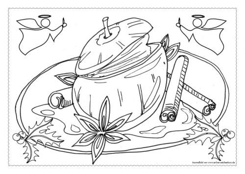 Adventskalender Ausmalbild: Bratapfel - Türchen 11