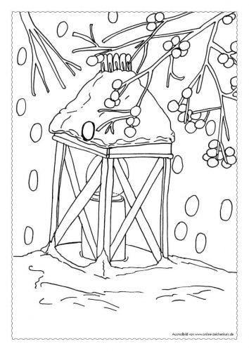 Adventskalender Ausmalbild: Laterne im Schnee - Türchen 18