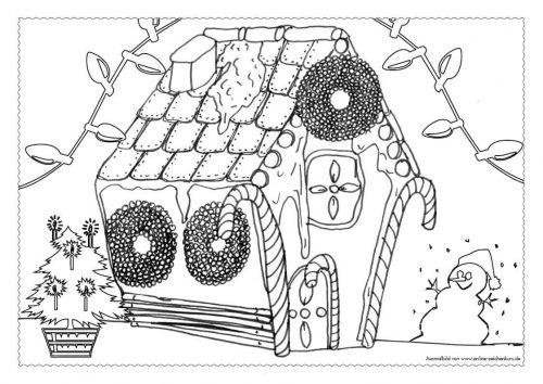 Adventskalender Ausmalbild: Lebkuchenhaus - Türchen 9