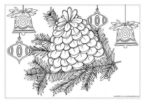 Adventskalender Ausmalbild: Tannenzapfen - Türchen 10