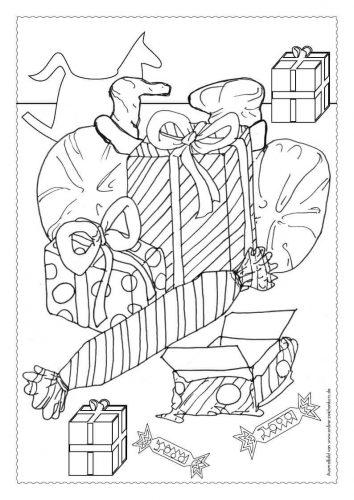 Adventskalender Ausmalbild: Geschenke - Türchen 21