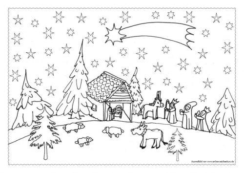 Adventskalender Ausmalbild: Heilige Nacht mit Krippe - Türchen 13