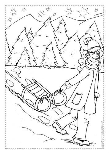 Adventskalender Ausmalbild: Schlitten im Schnee - Türchen 19