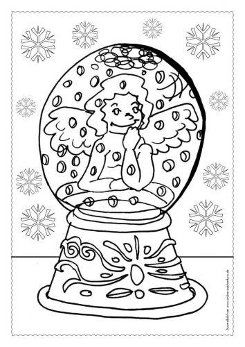 Adventskalender Ausmalbild: Schneekugel - Türchen 14