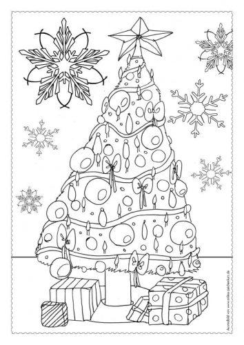 Adventskalender Ausmalbild: Weihnachtsbaum - Türchen 24