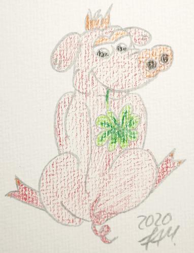 Glücksschweinchen zeichnen - Buntstiftkolorierung
