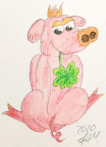 Glücksschweinchen zeichnen - Buntstiftkolorierung vermalt mit Wasser