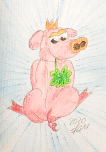 Glücksschweinchen zeichnen - Fertig