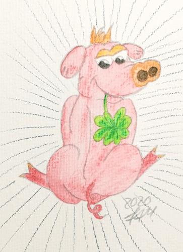 Glücksschweinchen zeichnen - Hintergrund