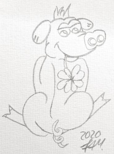 Glücksschweinchen zeichnen - Konturen