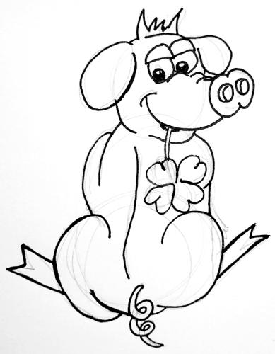 Glücksschweinchen zeichnen - Skizze