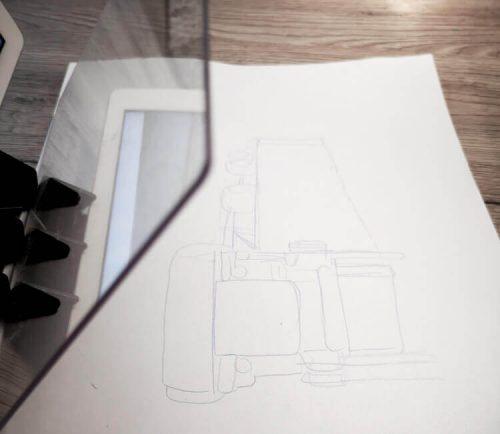 Skizzenprojektor benutzen: Kunststoffscheibe und Skizze