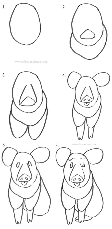 Tutorial: Sitzendes Schwein zeichnen