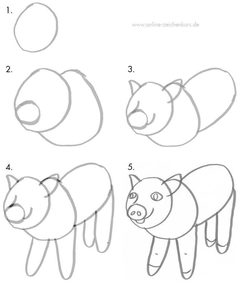 Ein süßes Schweinchen zeichnen