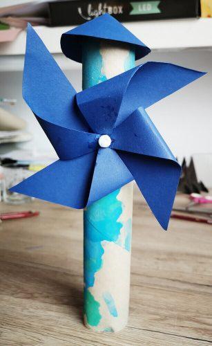 Windmühle basteln - fertig von vorne