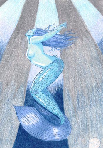 Malen mit zwei Farben Kolorierung mit Buntstift Meerjungfrau