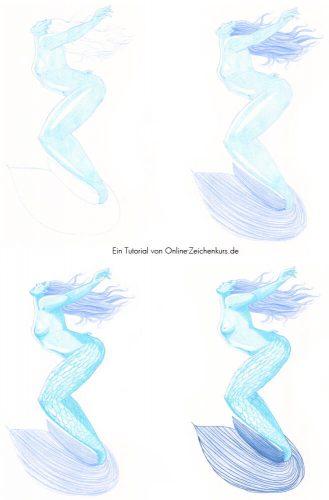 Tutorial: Malen mit zwei Farben Challenge - Meerjungfrau Schritte 1