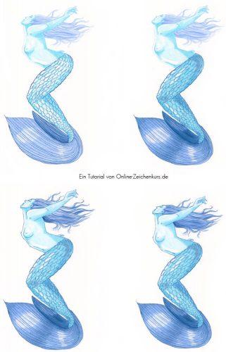Tutorial: Malen mit zwei Farben Challenge - Meerjungfrau Schritte 2