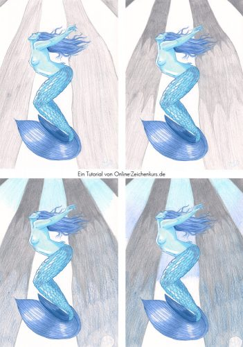 Tutorial: Malen mit zwei Farben Challenge - Meerjungfrau Schritte 3
