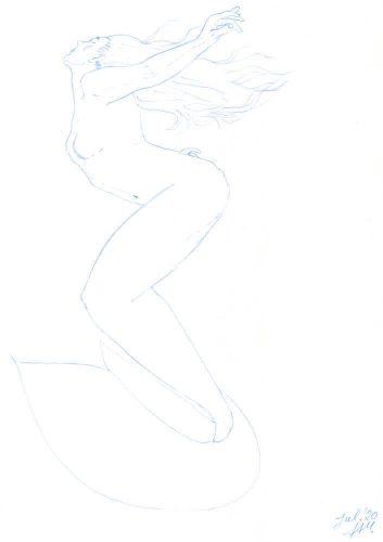 Bleistiftskizze Meerjungfrau Juli 2020