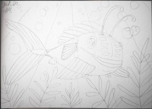 Comicfisch zeichnen: Bleistiftvorzeichnung