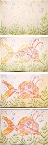 Comicfisch zeichnen: Aquarellbuntstift Kolorierung Schritte