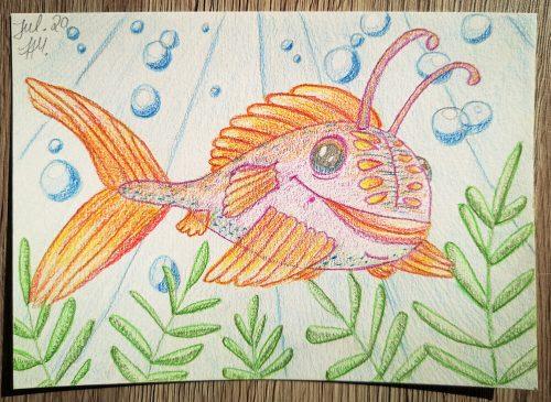 Comicfisch zeichnen: Aquarellbuntstiftkolorierung fertig