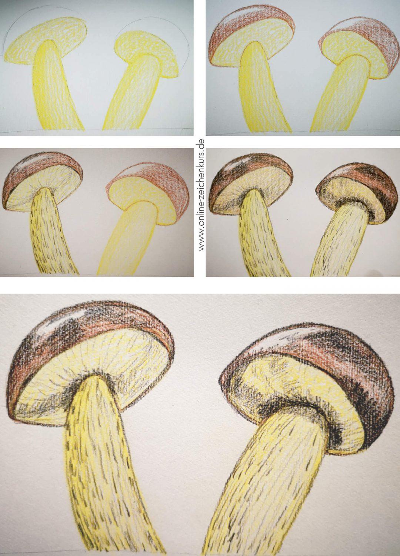 Tutorial: Pilze malen Schritt für Schritt