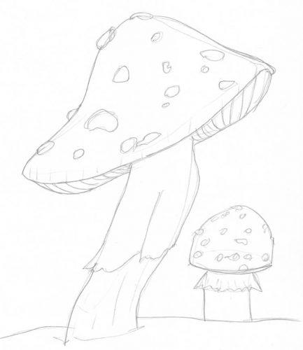 Pilze zeichnen: Beispiel Fliegenpilze