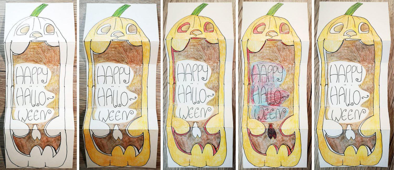Halloween Klappkarte gestalten - einzelne Schritte