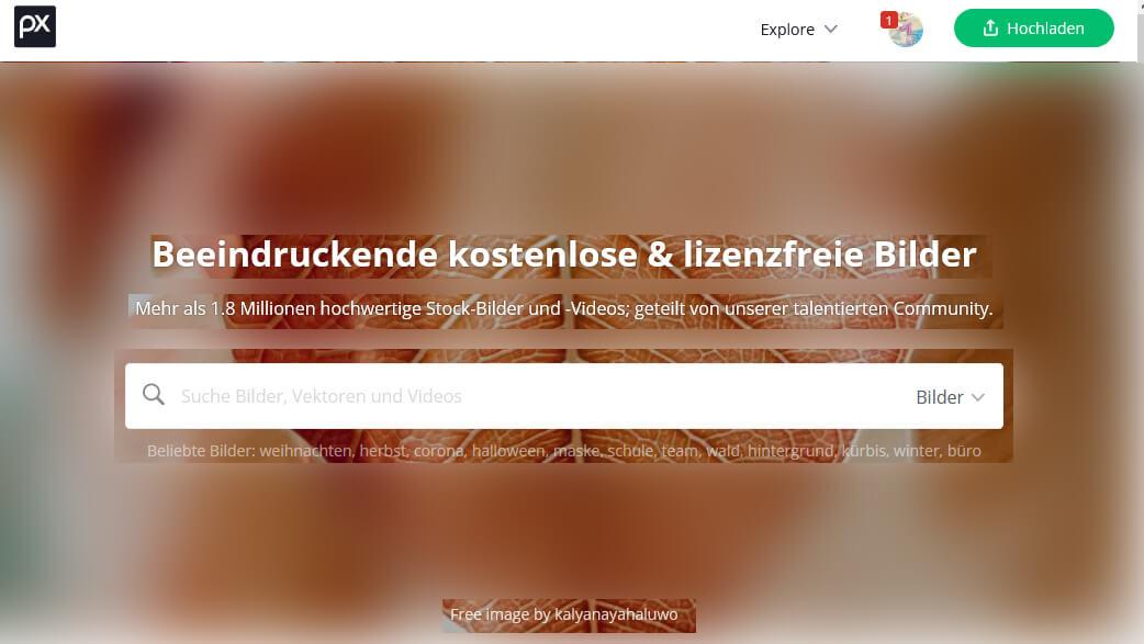 Pixabay Screenshot Startseite