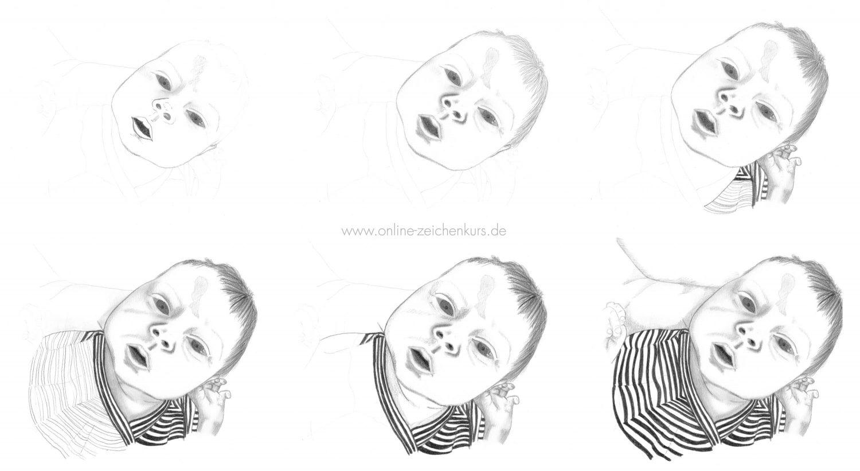 Baby zeichnen mit Bleistift - Schritt für Schritt