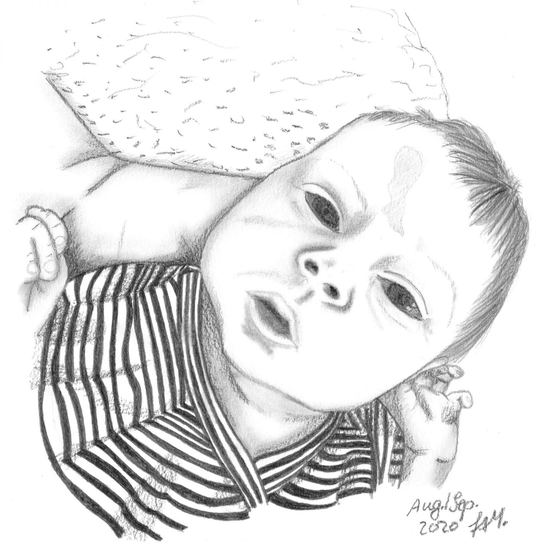 Baby zeichnen mit Bleistift - fertige Bleistiftzeichnung