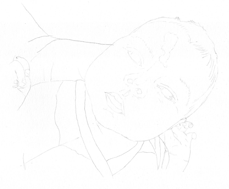 Baby zeichnen: Bleistiftskizze