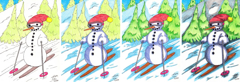 Schneemann malen auf Skiern