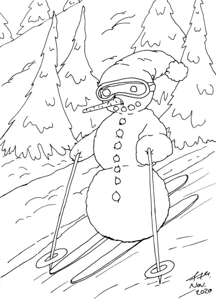Ski fahrender Schneemann Finelinerkontoren