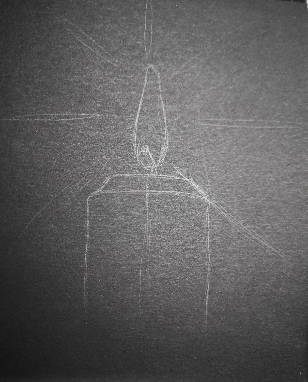 Kerze zeichnen Bleistiftskizze
