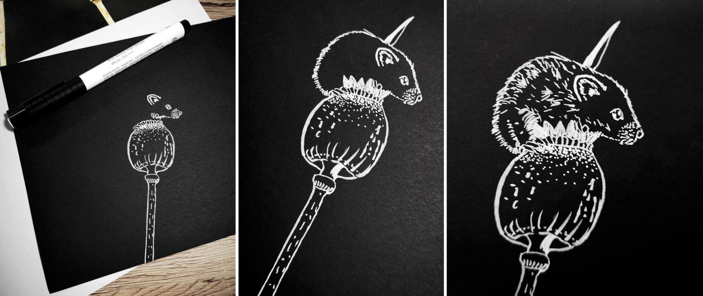 Silhouettenbild zeichnen: Mäusebild malen mit weißer Tusche - Schritte 2,3 und 4