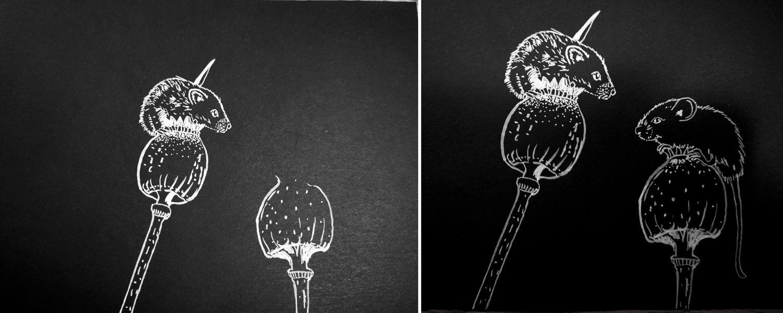 Silhouettenbild zeichnen: Mäusebild malen mit weißer Tusche - Schritte 5 und 6
