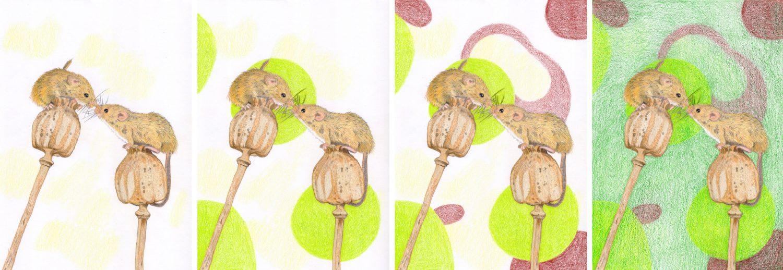 Schrittanleitung: Mäuse mit Buntstift Hintergrund malen
