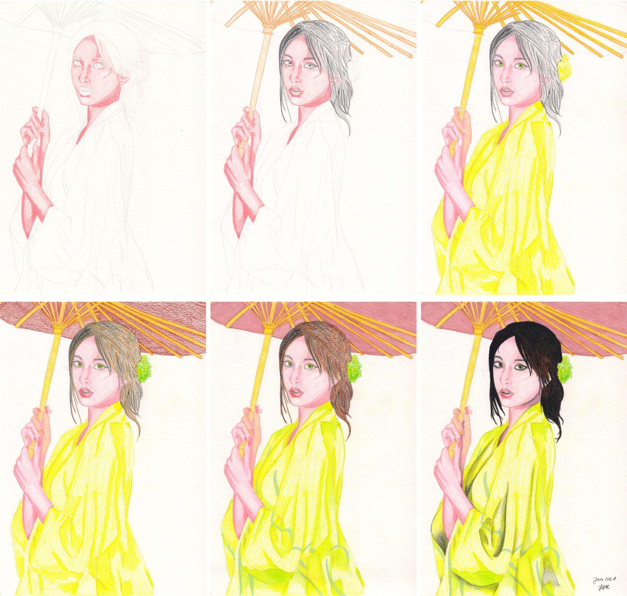Asiatin mit Schirm zeichnen