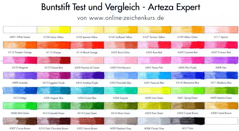 Buntstifttest: Arteza Expert Farbchart ausgefüllt