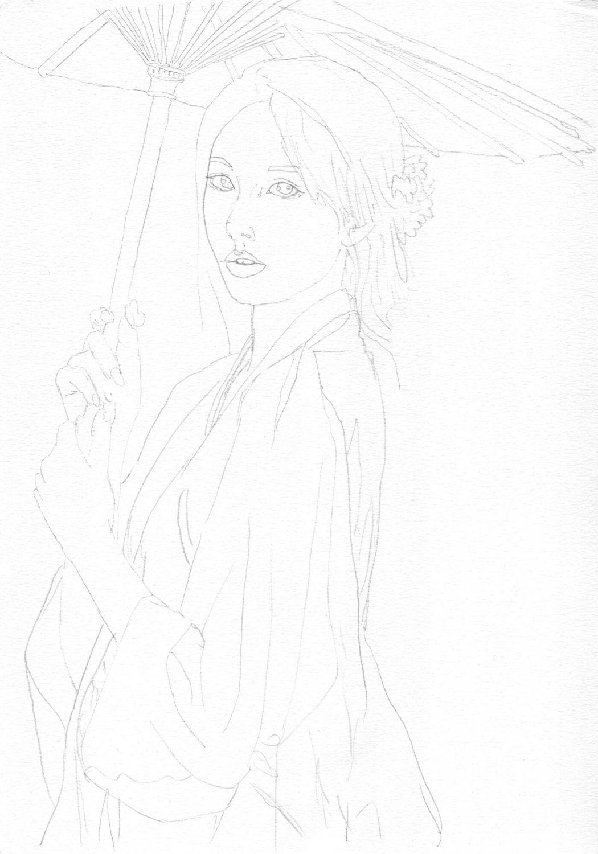 Asiatin mit Schirm zeichnen - Bleistiftskizze
