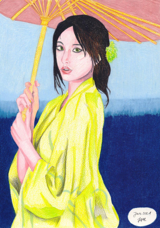 Caran D'Ache Luminance Anwendungsbeispiel: Asiatin mit Schirm zeichnen
