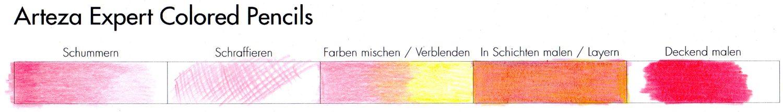 Buntstifttests Praxis: Techniken mit Arteza Expert Colored Pencils