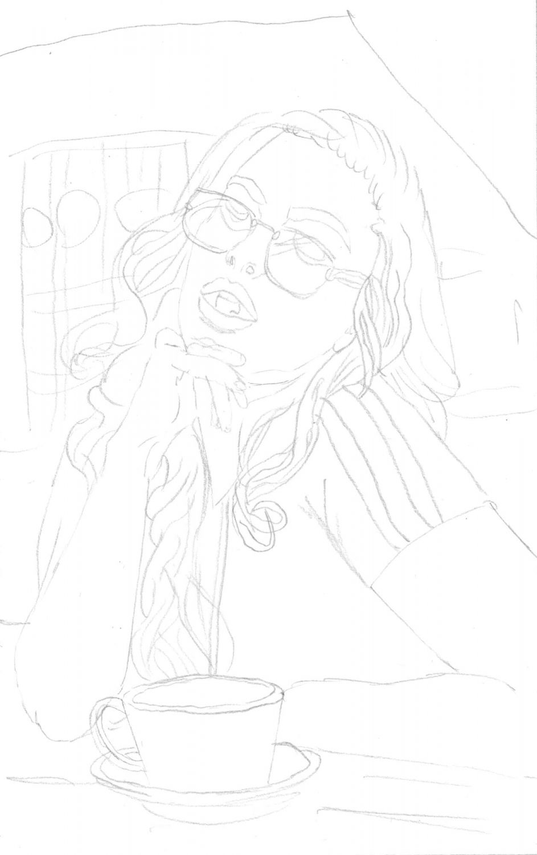 Portrait zeichnen: Kaugummi Mädel - Bleistiftskizze